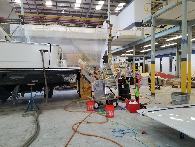 polishing-fuel-on-a-80-Lazzara-at-Bertram-Yachts-in-Tampa-FL